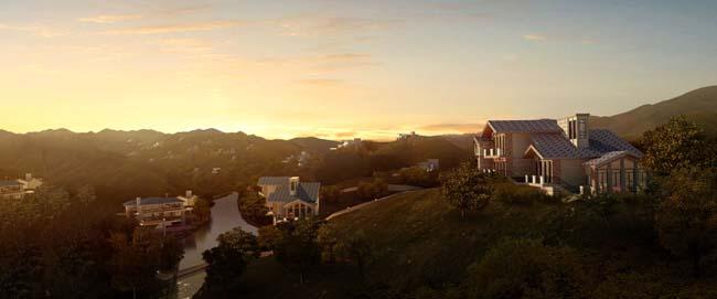 山峰上的别墅建筑景观psd素材
