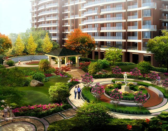 小区花园景观设计psd素材