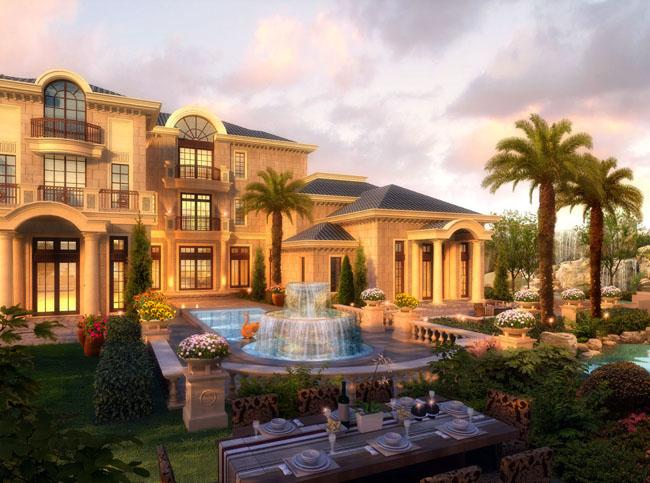 古典式园林建筑楼房景观psd素材 楼房建筑环境景观psd素材 欧式建筑