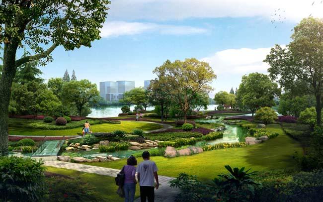 公园 绿化环境 景观效果图 psd素材 爱图网设计