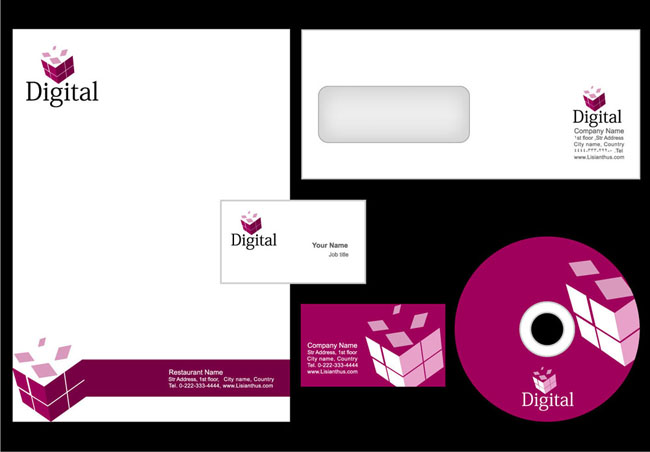 封面光盘信封标识设计矢量素材