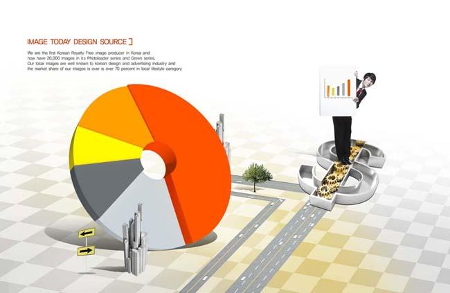 统计图与商务男人psd素材图片