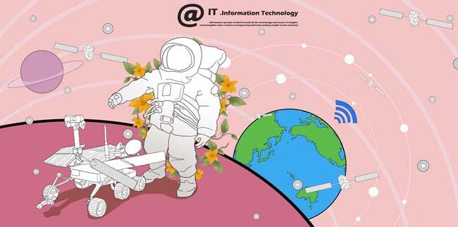 卡通地球太空通信科技宇航员卫星星球插画-卡通地球简笔画,卡通地