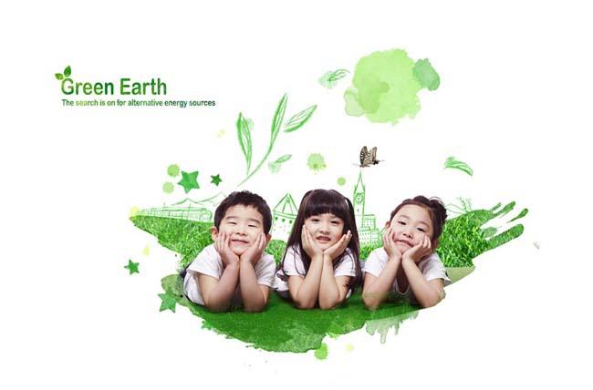 快乐儿童小朋友环保插画手绘背景绿色环境